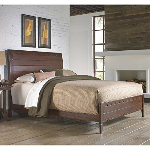 Rockland Platform Bed with Metal Sleigh Headboard and Wood Appearance Design, Brandy Finish, King