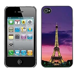 Cubierta de la caja de protección la piel dura para el Apple iPhone 4 / 4S - tower architecture lights sky night Paris