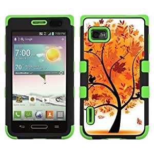 One Tough Shield ? 3-Layer Hybrid Case (Black/Green) for LG Optimus F3 (LS720/VM720/MS659) - (Golden Tree) by lolosakes