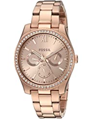Fossil Womens Scarlette Quartz Stainless Steel Casual Watch, Color:Rose Gold-Toned (Model: ES4315)