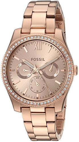 Fossil Women's 'Scarlette' Quartz Stainless Steel Casual Watch, Color:Rose Gold-Toned (Model: ES4315) by Fossil