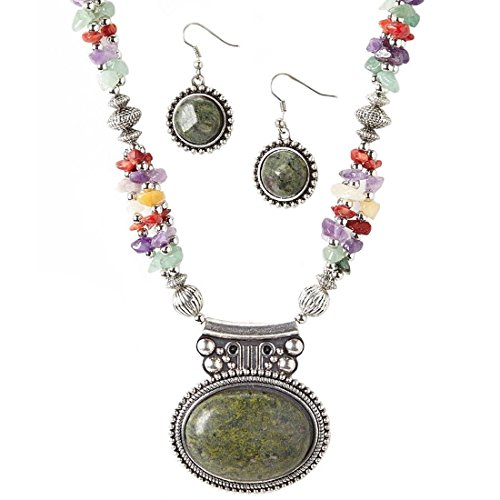 7727f950aae197 NOVADAB Jasper Pendant Multicolored Stones Necklace and Earrings Jewelry  Set for Women