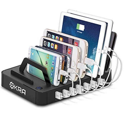 Okra 7-Port Hub USB Desktop Universal Charging Station Multi Device Dock for iPhone, iPad, Samsung Galaxy, LG, Tablet PC and all Smartphones and Tablets (Black)