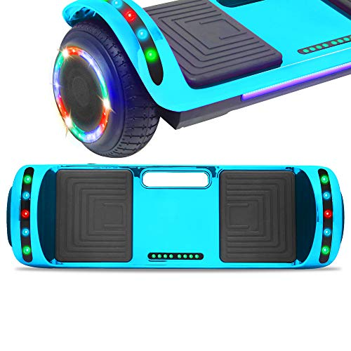 NHT Latest Generation Electric Hoverboard Build-in Bluetooth Speaker Electric Self Balancing Scooter Hover Board with LED Lights Safety Certified (Chrome Blue)