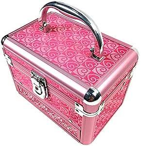 الألومنيوم ماكياج حالة القطار، مستحضرات التجميل المنظم تخزين مربع مع مرآة، وردي اللون، 3 طبقات التصميم