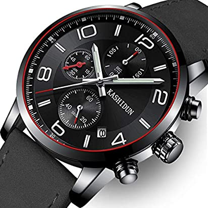 OLMECA Men's Watch Luxury Fashion Simple Wrist Watches Stainless Steel Leather Band Analog Quartz Waterproof Watch for Men Chronograph Clock (K-Black Silverhands)