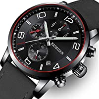 OLMECA Men's Watch Luxury Fashion Simple Wrist Watches Stainless Steel Leather Band Analog Quartz Waterproof Watch for Men Chronograph Clock (K-Black Silverhands)