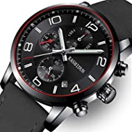 [Sponsored]OLMECA Men's Watch Luxury Fashion Simple Wrist Watches Stainless Steel Leather Band...