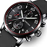 Men Leather Strap Watches Men's Chronograph Waterproof Sport Date Quartz Wrist Watch (Black A)