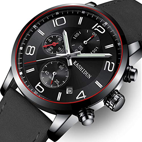 KASHIDUN Men's Watches Sports Military Quartz Wristwatches Waterproof Chronograph Genuine Leather Band Black Color (Chronograph Water Resistant Wrist Watch)