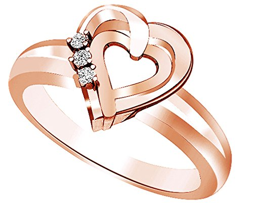 AFFY White Natural Diamond Double Heart Promise Ring in 14k Rose Gold Over Sterling Silver (0.05 Cttw)
