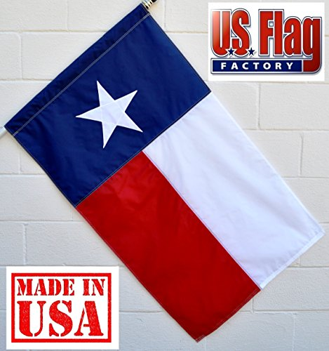 Solarmax Nylon State Flag - US Flag Factory - 2.5x4 FT Texas State Flag (Pole Sleeve) (Appliqued Star, Sewn Stripes) Outdoor SolarMax Nylon - Premium Quality - Made in America (2.5x4 FT (Pole Sleeve))