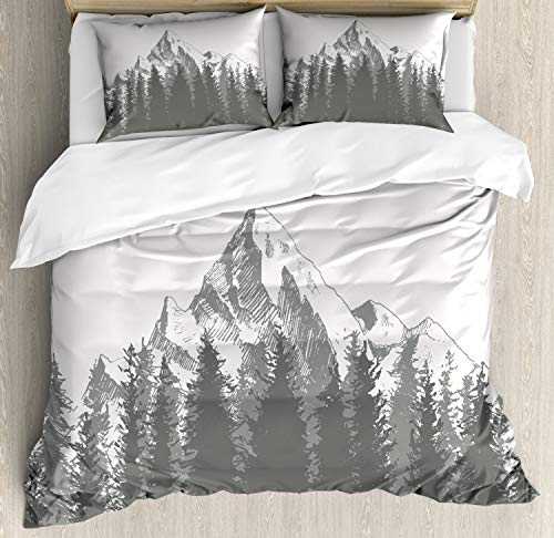 Ambesonne Primitive Duvet Cover Set Queen Size, Mountain with Fir Forest and Arrow Folk Style Retro Print, Decorative 3 Piece Bedding Set with 2 Pillow Shams, - Comforter Queen Mountain