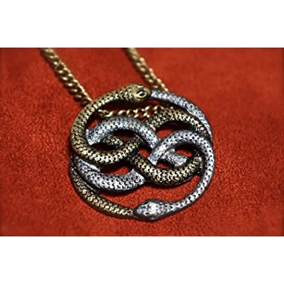 Fantasy Handicrafts Neverending Story Inspired Two-Tone Auryn Pendant - Atreyu's Gold and Silver Necklace: Clothing