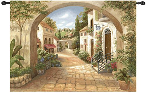 Manual Weavers Quaint Town by Vivian Flasch Cotton Wall Art Hanging Tapestry 50″ x 70″