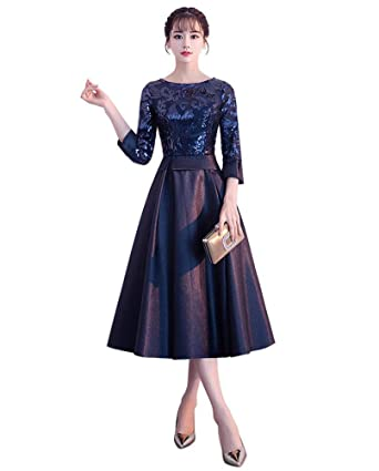 764011acd0a Drasawee Women s Elegant 2 3 Sleeves Satin Evening Dress A Line Sequined  Formal Dresses US0