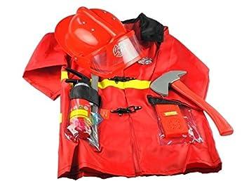 Real del fuego del bombero traje extintor, casco, barra de ...