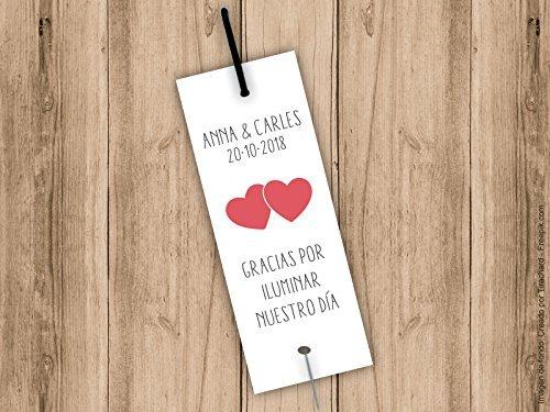 Tarjetas porta bengalas para bodas con corazones. Bengala NO incluida. Pack 25 unidades: Amazon.es: Handmade