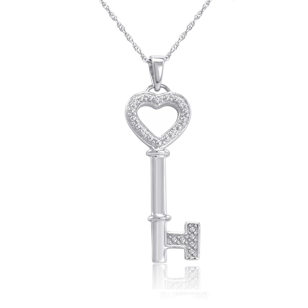 95af328d2 Amazon.com: Sterling Silver and Diamond Key to Your Heart Pendant Necklace  18 in. Chain: Necklaces For Your Girlfriend: Jewelry