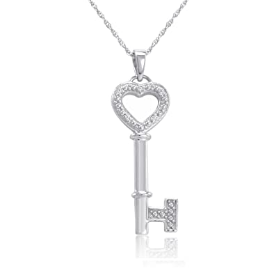 5959c4b81 Amazon.com: Sterling Silver and Diamond Key to Your Heart Pendant Necklace  18 in. Chain: Necklaces For Your Girlfriend: Jewelry