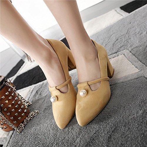 Mee Shoes Women's Office Mid Heel Slip On Court Shoes apricot p7zorm4qR
