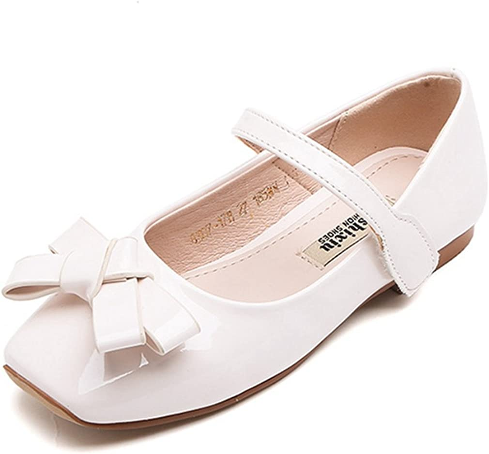 Toddler//Little Kid CYBLING Girls Mary Jane Ballerina Flat Glitter Bow Princess Dress Shoes