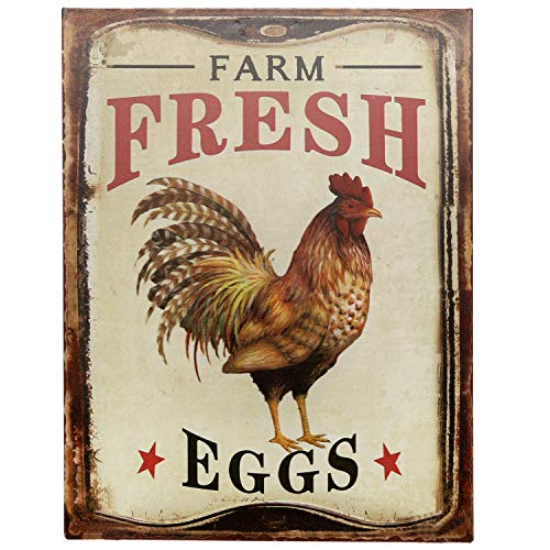 Barnyard Designs Farm Fresh Organic Eggs Retro Vintage Tin Bar Sign Country Home Decor 10