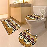HuaWuhome 3 Piece Toilet Cover Set Animal Tribal Ethnic African Hunting Zebra WithSpear and Arrow Prehistoric Tribe Life Theme Pattern