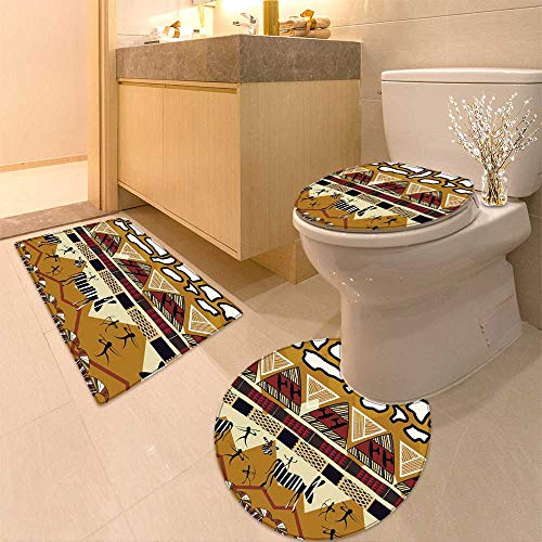 HuaWuhome 3 Piece Toilet Cover Set Animal Tribal Ethnic African Hunting Zebra WithSpear and Arrow Prehistoric Tribe Life Theme Pattern by HuaWuhome