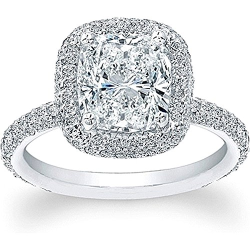 KING OF JEWELRY Natural, Not Enhanced, Cushion Cut Thin Micro-Pave Halo Diamond Engagement Ring, H-Color, VS2 Clarity - GIA Certified (rose-gold, 2.40) -