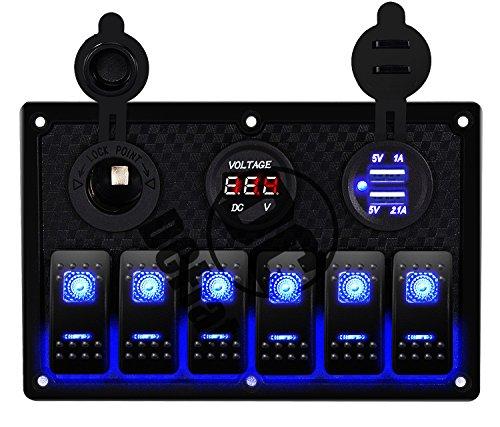 DCFlat Waterproof 6 Gang Toggle Rocker Switch Panel Car Marine Boat Circuit LED Breaker Voltmeter (6 Gang Plastic - Panels Marine Fuse