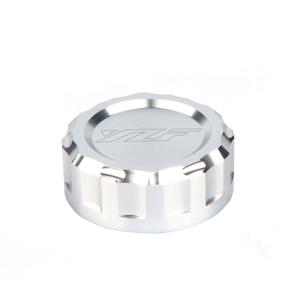CNC Aluminum Oil Cover Rear Brake Fluid Reservoir Cap For YAMAHA YZF R1 2009 2010 2011 2012 2013 2014 R252015 2016 2017 R3 2015 2016 2017 R6 2001-2017 R1 2009-2014(SILVER)