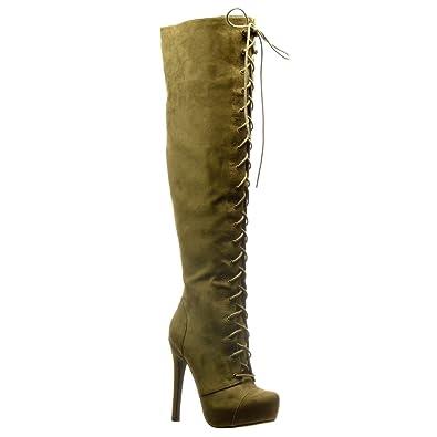 01ac3b2e0a0 Angkorly - Chaussure Mode Botte Cuissarde Stiletto Sexy Femme Lacets Talon  Haut Aiguille 13.5 CM -
