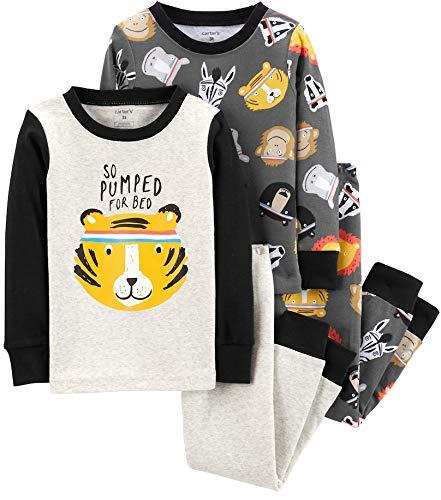 Carter's Boys' 4-Piece Snug Fit Cotton Pajamas (Pumped Tiger, 4T)