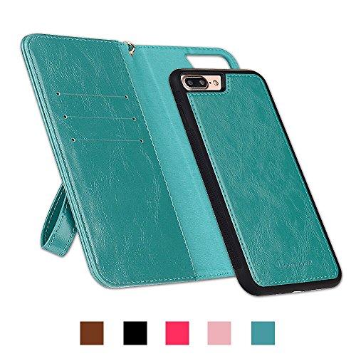 啓発する可聴母音iPhone7Plus ケース 手帳型 Doormoon iPhone8Plus ケース 財布型 PUレザー マグネット式 カバー カードポケット スタンド機能 ストラップ付き 人気 ブルーグリーン