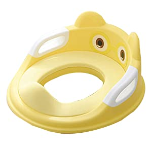 RDTIAN 1~7 Years Potty Training Seat for Kids Boy Girl Toilet Seat with Cushion Handle Backrest (Yellow)