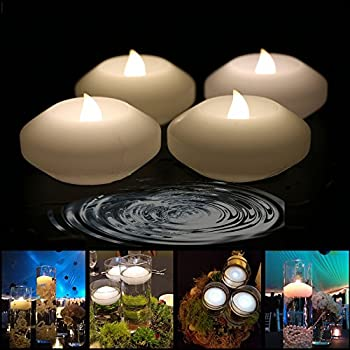 Amazon.com: (Pack of 4) Wax Flicker 3 inch LED Water Floating Candle Warm White Color for Wedding or Party Decoration (Warm White): Home Improvement