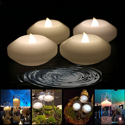 (Pack of 4) Wax Flicker 3 inch LED Water Floating Candle Warm White Color for Wedding or Party Decoration (Warm White) by Acmee