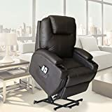 U-MAX Massage Chair Power Lift Recliner Wall Hugger PU Leather heated Vibration with Wheels 2 Controls (Brown)