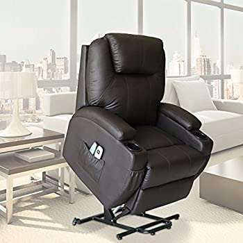 U-MAX Massage Chair Power Lift Recliner PU Leather heated Vibration with Wheels 2 Controls (Brown)