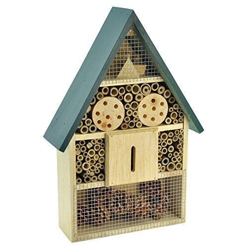 Gardirect Luxurious Insect Hotel, Bee & Bug House, Large Size, 11'' x 3-3/8'' x 15-3/4'' (Green Roof)