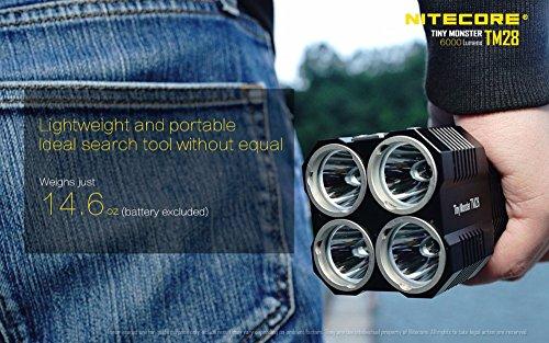 NITECORE TM28 4CREE XHP35 HI max.6000LM beam distance 655meter LED outdoor flashlight + 4pcs 18650 3100mAh li-ion batteries by Nitecore (Image #4)