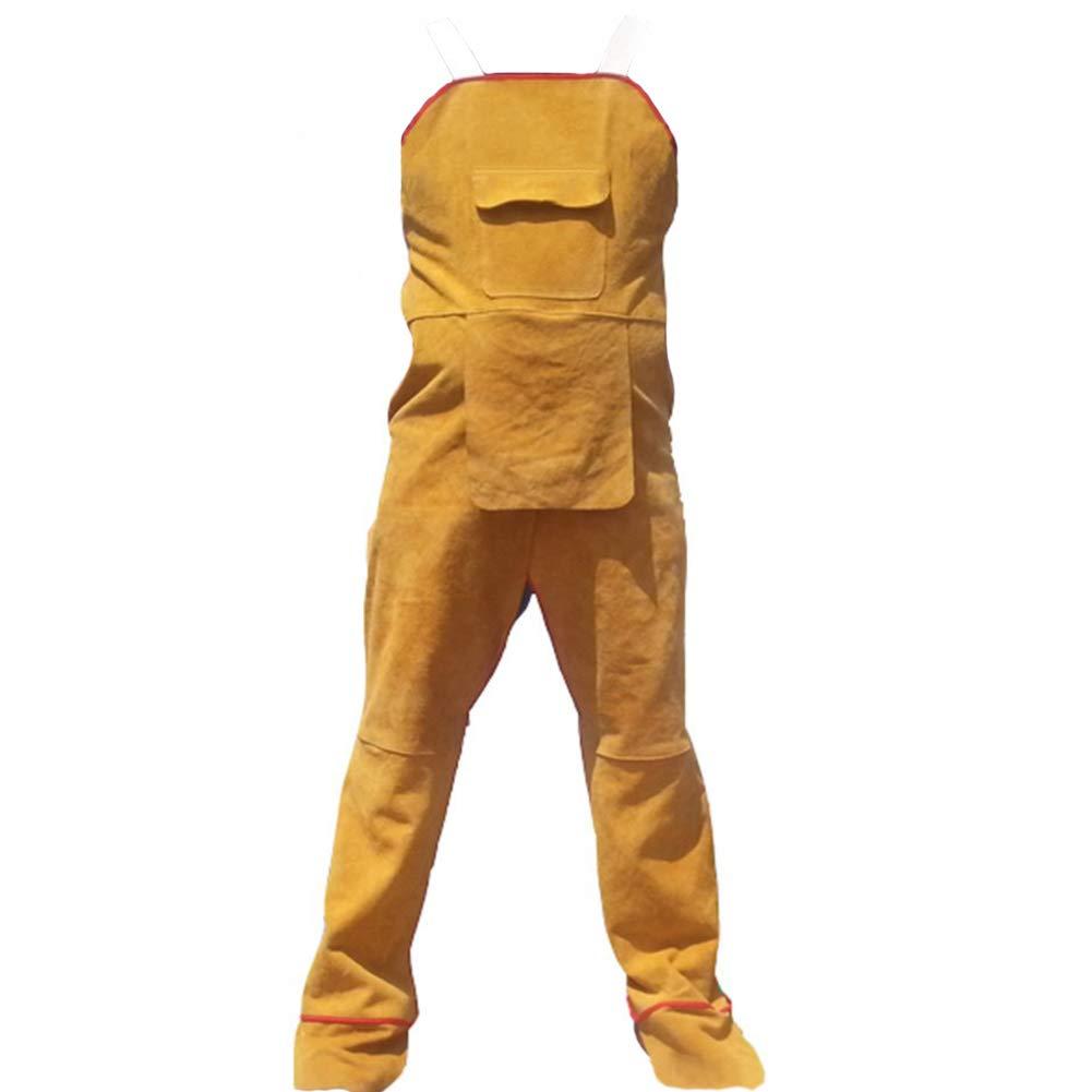 OLizee Cut Resisrtant Yellow Flame/Fire-resistant Bib Style Welding Apron Safety Apparel Split Leg Weldlite Flame Retardant