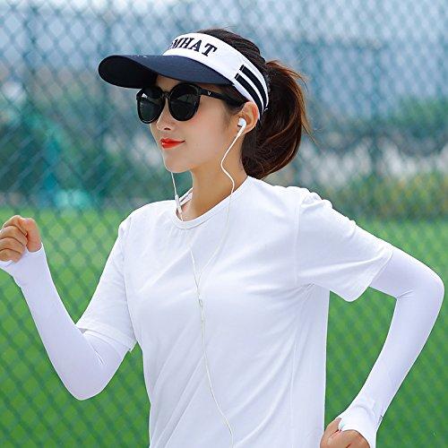 GAOQIANGFENG Ms. Sun Visor Hat summer travel all-match face UV folding sun helmet visor,Magic plaster,Beige (air supply rope) - Air Carter Cap