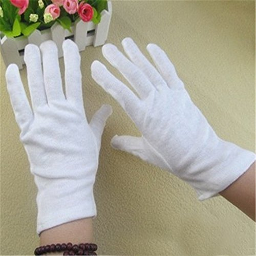 Wowlife White Soft Cotton Gloves Lightweight Gloves film, coins, CD/DVD,Etiquette, Handling Gloves (24) by Wowlife (Image #2)