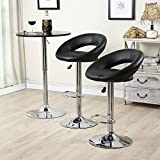 Set of (2) Bar Stools Leather Modern Hydraulic Swivel Dinning Chair Pub Pairs Stool! Black #273