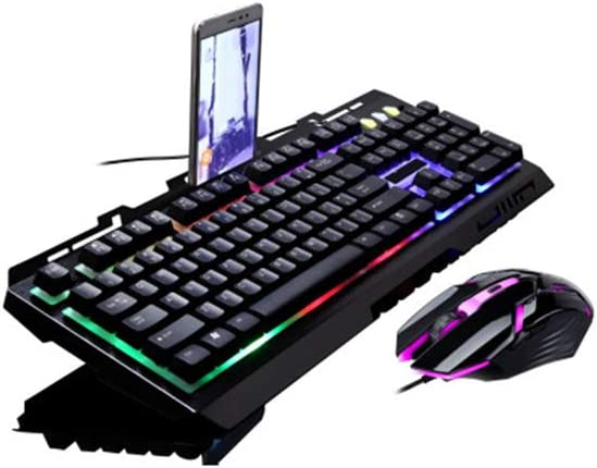 PUS Teclado inalámbrico,USB con Cable Metal Internet Cafe Mouse Teclado Teclado de Juegos Mouse