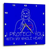 3dRose Alexis Design - Christian - Jesus Christ. I protect you with my whole heart. White on blue - 10x10 Wall Clock (dpp_271958_1)
