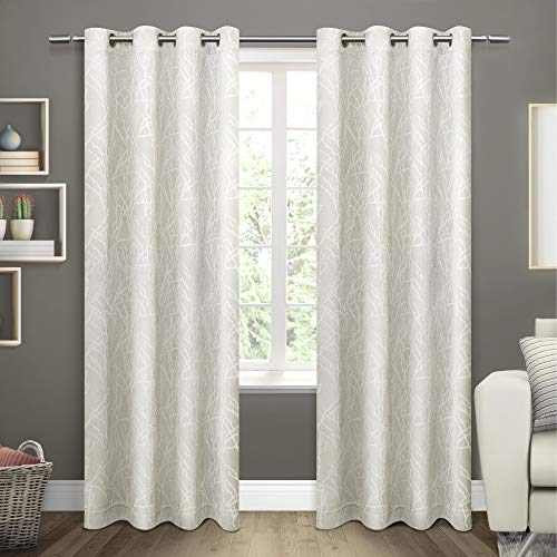 Exclusive Home Curtains Twig Insulated Blackout Window Curtain Panel Pair with Grommet Top, 54x108, vanilla, 2 Piece