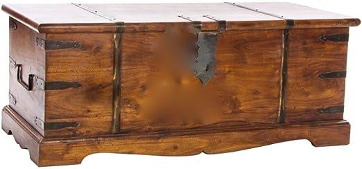 Baúl a modo mesa de centro de gran formato en madera y hierro ...